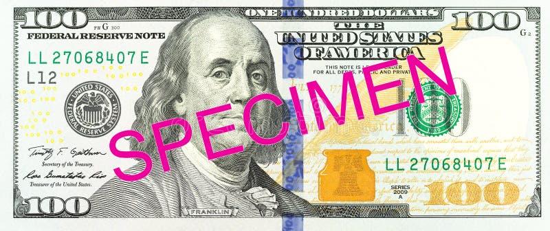 εμπρόσθιο δείγμα τραπεζογραμματίων 100 αμερικανικών δολαρίων στοκ εικόνες με δικαίωμα ελεύθερης χρήσης