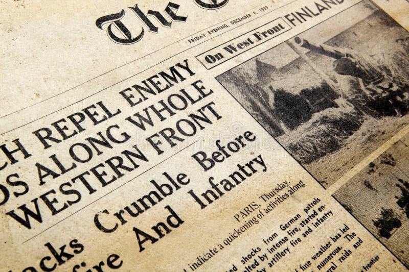 εμπόλεμη περίοδος εφημερίδων στοκ φωτογραφία με δικαίωμα ελεύθερης χρήσης