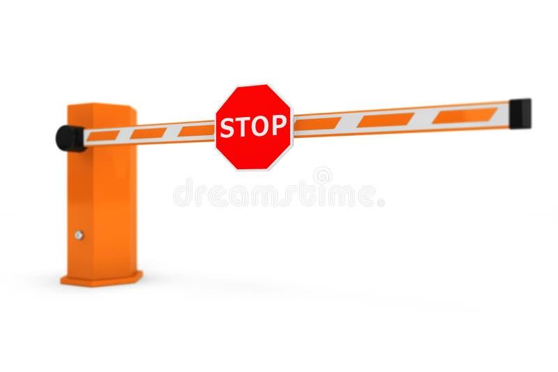 Εμπόδια οδικών αυτοκινήτων με το σημάδι στάσεων ελεύθερη απεικόνιση δικαιώματος