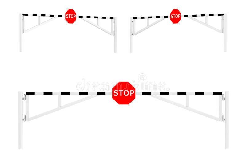 Εμπόδια οδικών αυτοκινήτων με το σημάδι στάσεων απεικόνιση αποθεμάτων