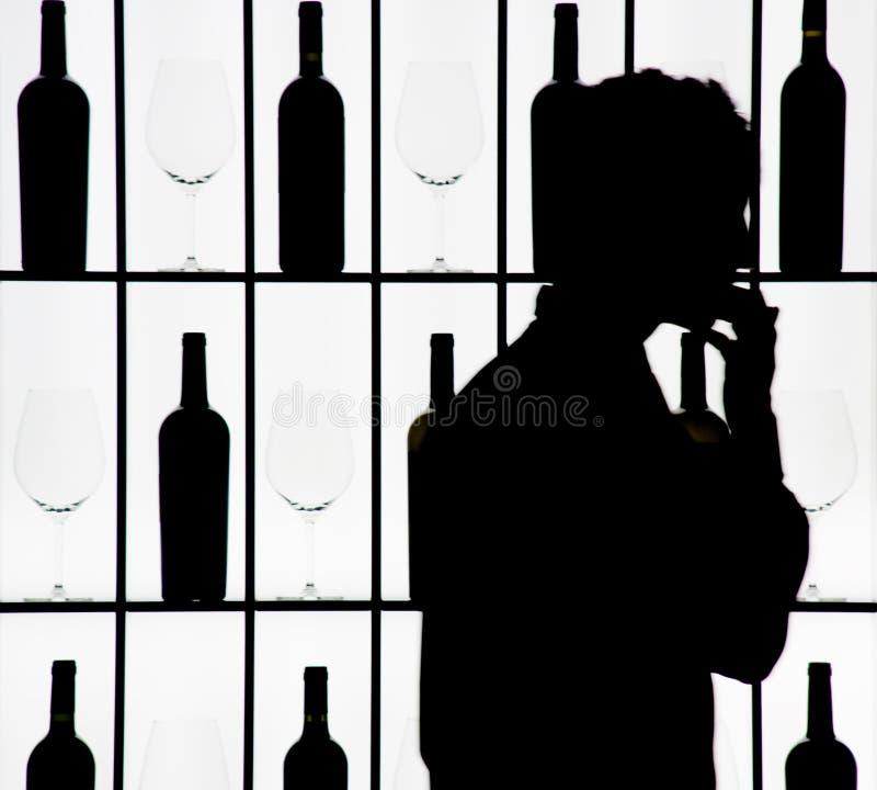 ενάντια στο σερβιτόρο silouette γ απεικόνιση αποθεμάτων