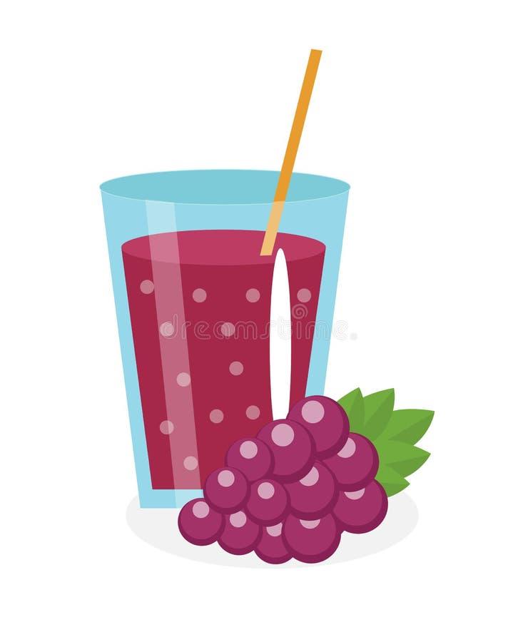 ενάντια στο σταφύλι γυαλιού καλαθιών ο χυμός που στέκεται Φρέσκος που απομονώνεται στο άσπρο υπόβαθρο φρούτα και εικονίδιο απεικόνιση αποθεμάτων