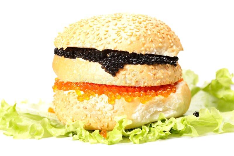 ενάντια burger στο λευκό χαβι&alph στοκ εικόνα