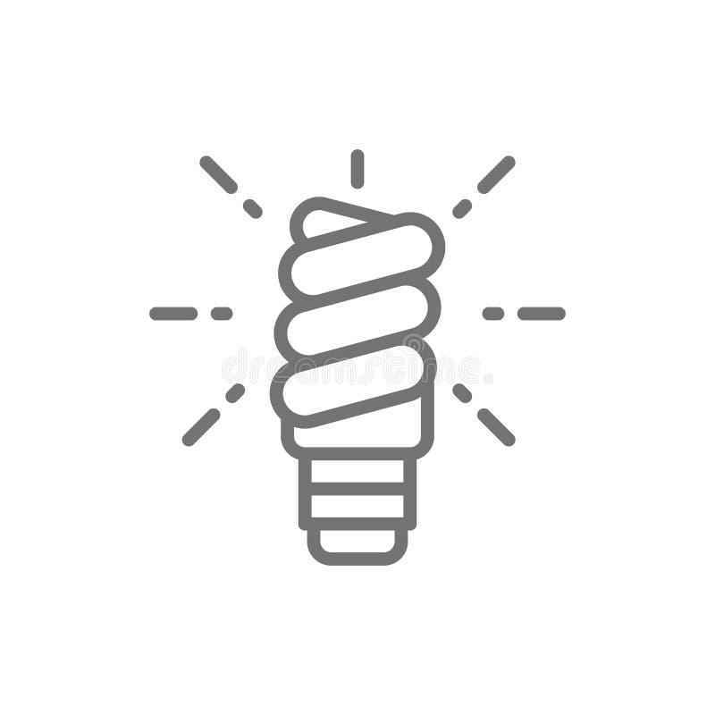 Ενέργεια - λαμπτήρας αποταμίευσης, εικονίδιο γραμμών λαμπών φωτός ελεύθερη απεικόνιση δικαιώματος