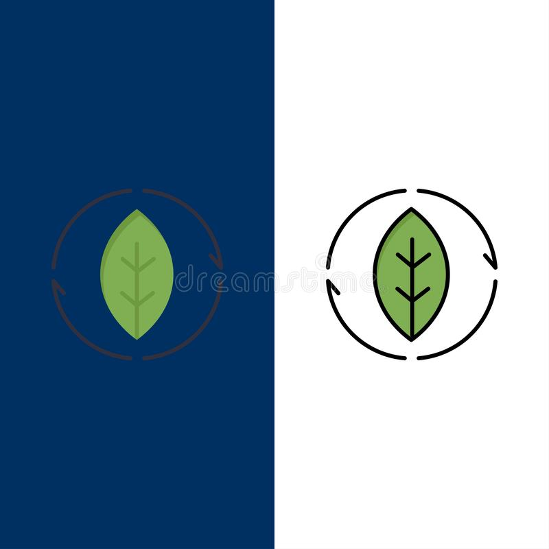 Ενέργεια, πράσινη, πηγή, εικονίδια δύναμης Επίπεδος και γραμμή γέμισε το καθορισμένο διανυσματικό μπλε υπόβαθρο εικονιδίων ελεύθερη απεικόνιση δικαιώματος