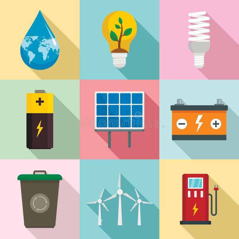 Ενέργεια - σύνολο εικονιδίων αποταμίευσης, επίπεδο ύφος απεικόνιση αποθεμάτων