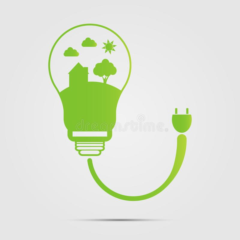 Ενέργεια - το ψηφιακό σχέδιο αποταμίευσης στις λάμπες φωτός είναι σπίτια εξοικονόμησης ενέργειας μεταφορτώστε το έτοιμο διάνυσμα  απεικόνιση αποθεμάτων