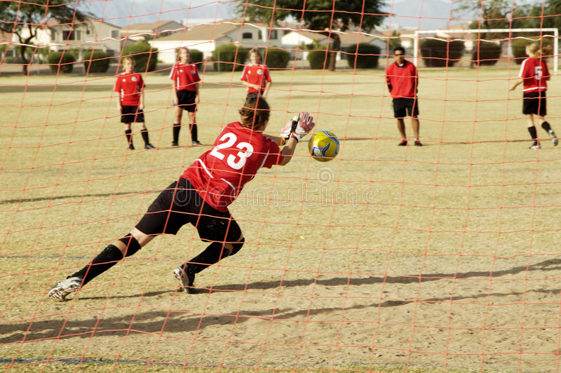ενέργεια goalie στοκ φωτογραφία με δικαίωμα ελεύθερης χρήσης