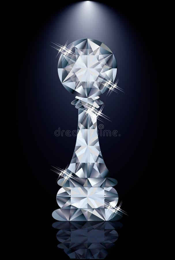 Ενέχυρο σκακιού διαμαντιών διανυσματική απεικόνιση