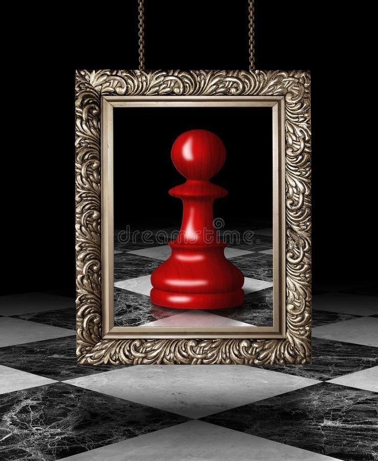 Ενέχυρο σκακιού στο χρυσό πλαίσιο στοκ εικόνα