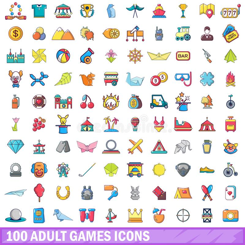 100 ενήλικα εικονίδια παιχνιδιών καθορισμένα, ύφος κινούμενων σχεδίων διανυσματική απεικόνιση