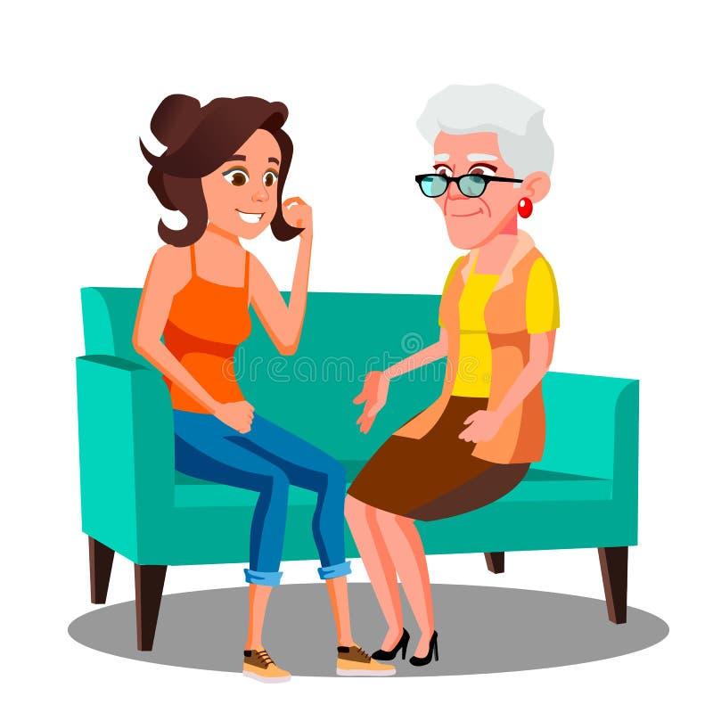 Ενήλικη γυναίκα που μιλά στην ώριμη μητέρα της στο διάνυσμα καναπέδων απομονωμένη ωθώντας s κουμπιών γυναίκα έναρξης χεριών απεικ διανυσματική απεικόνιση