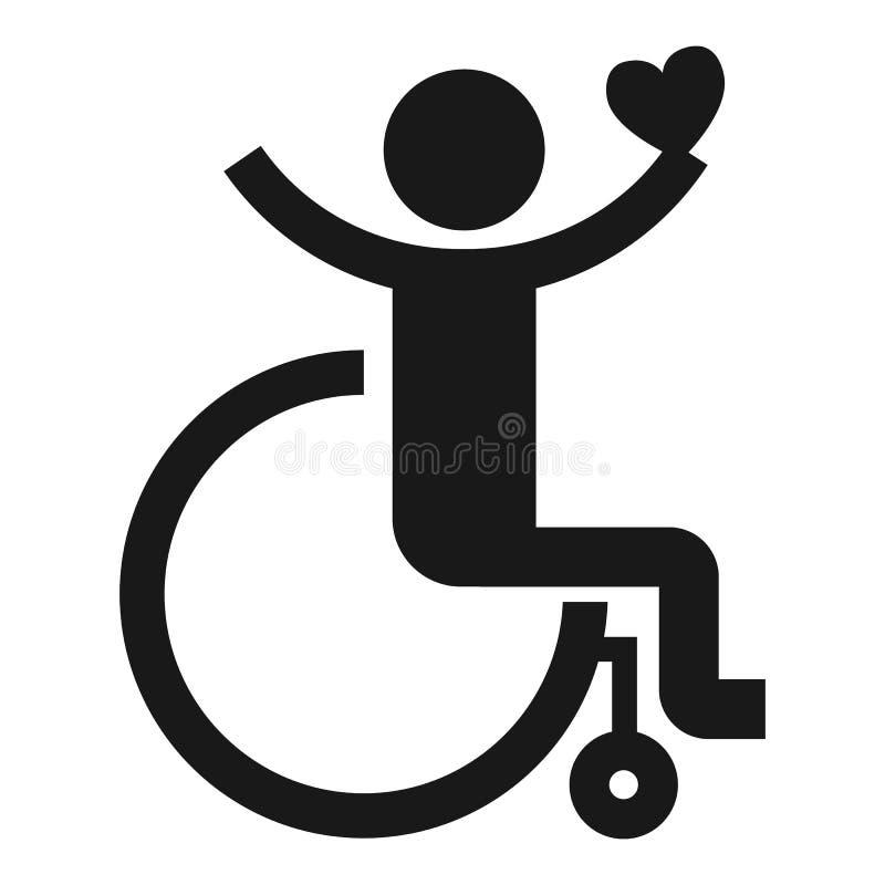 Ενήλικο εικονίδιο αναπηρικών καρεκλών, απλό ύφος διανυσματική απεικόνιση