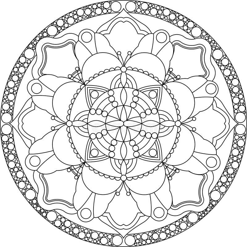 Ενήλικη χρωματίζοντας σελίδα Zentangle, mandala απεικόνιση αποθεμάτων