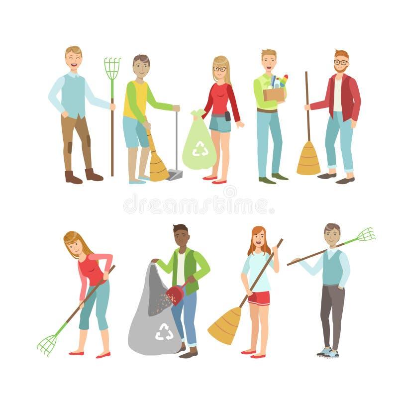 Ενήλικοι άνθρωποι που καθαρίζουν υπαίθρια ελεύθερη απεικόνιση δικαιώματος