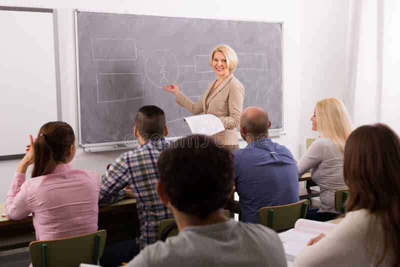Ενήλικοι σπουδαστές με το δάσκαλο στην τάξη στοκ φωτογραφία