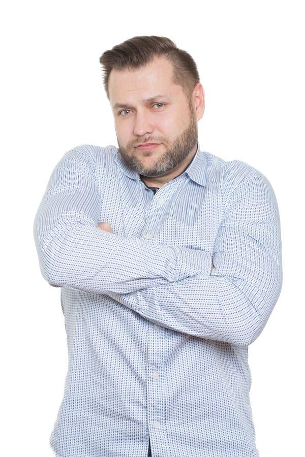 Ενήλικο αρσενικό με μια γενειάδα Απομονωμένος στο λευκό στοκ φωτογραφίες