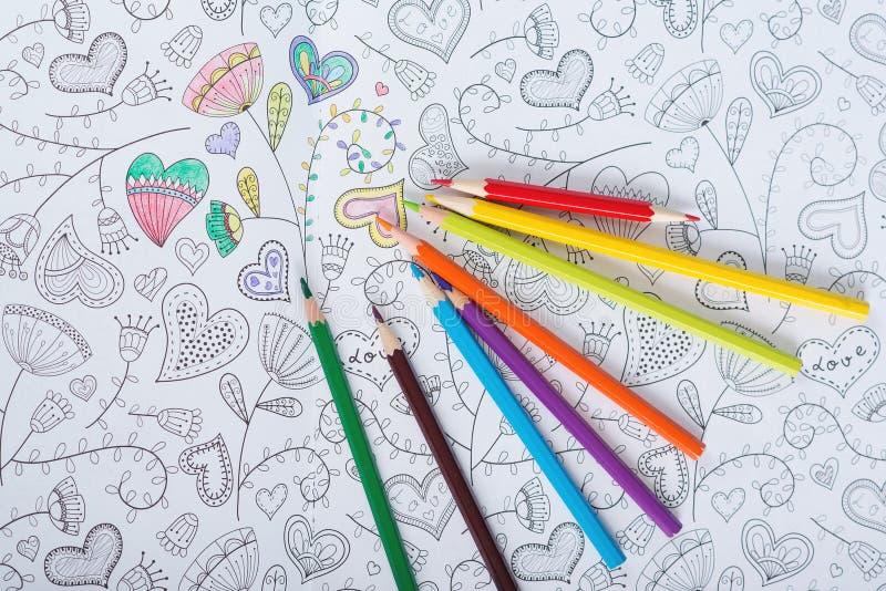 Ενήλικο χρωματίζοντας βιβλίο αντι πίεσης τέχνη στοκ εικόνα με δικαίωμα ελεύθερης χρήσης