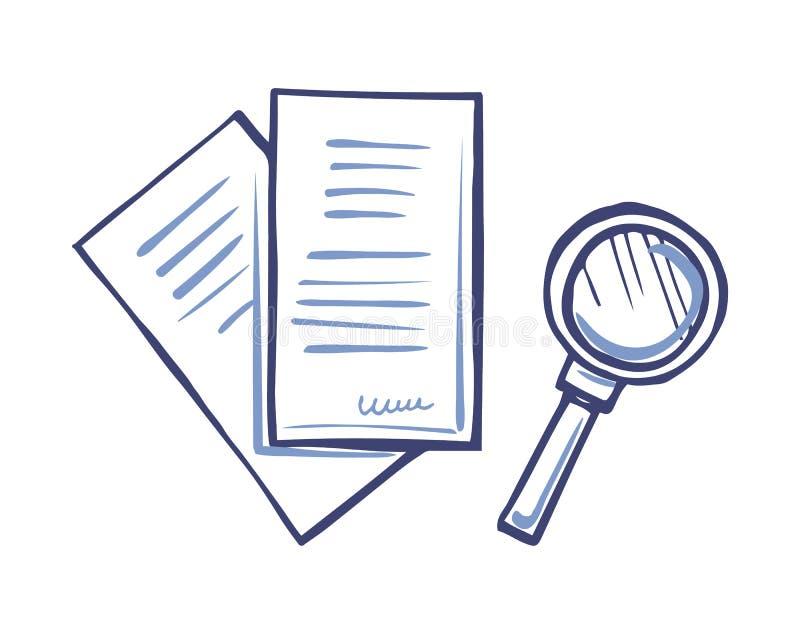 Ενίσχυση - έγγραφο γυαλιού και εγγράφου με την υπογραφή απεικόνιση αποθεμάτων