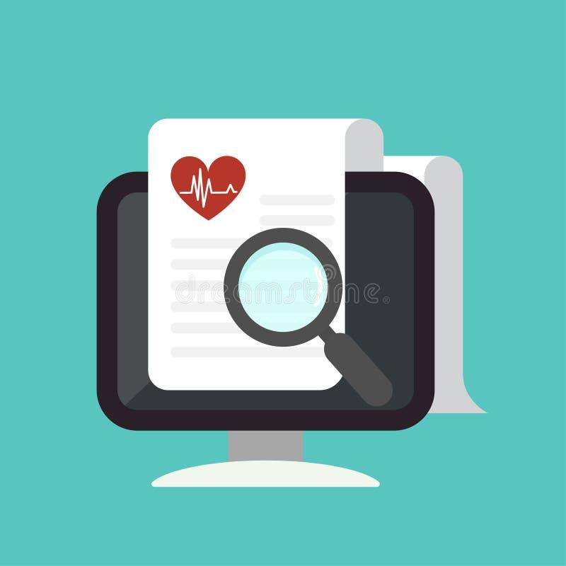 Ενίσχυση - γυαλί με την ιατρική έκθεση σχετικά με το εικονίδιο υπολογιστών διανυσματική απεικόνιση