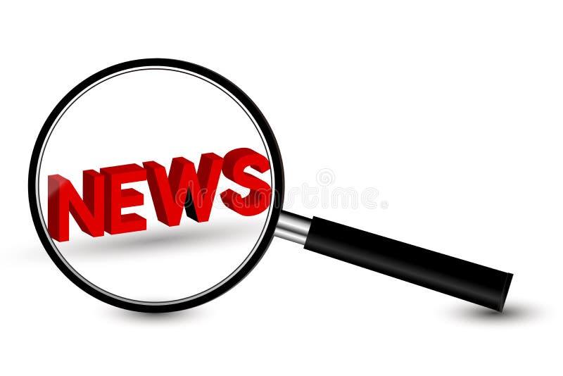 Ενίσχυση - γυαλί με τις ειδήσεις απεικόνιση αποθεμάτων
