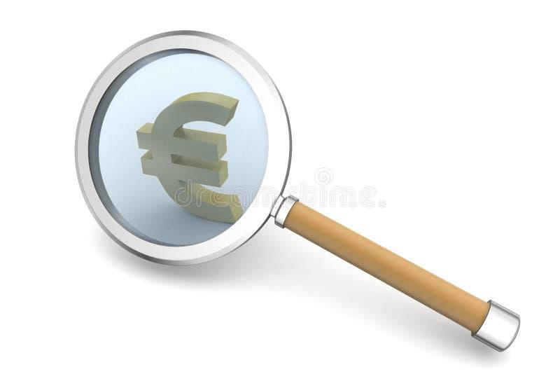 Ενίσχυση - γυαλί με το ευρώ απεικόνιση αποθεμάτων
