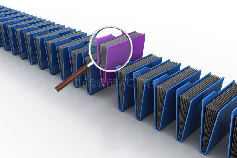 Ενίσχυση - γυαλί με το φάκελλο αρχείων ελεύθερη απεικόνιση δικαιώματος