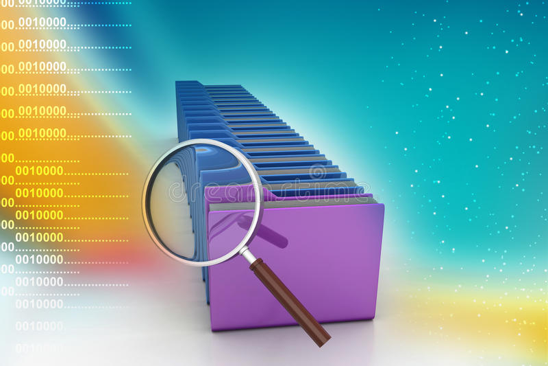 Ενίσχυση - γυαλί με το φάκελλο αρχείων απεικόνιση αποθεμάτων
