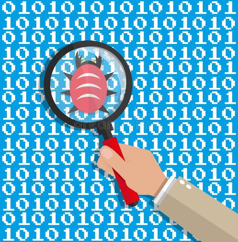 Ενίσχυση - γυαλί που ανιχνεύει τον ψηφιακό κώδικα λογισμικού απεικόνιση αποθεμάτων