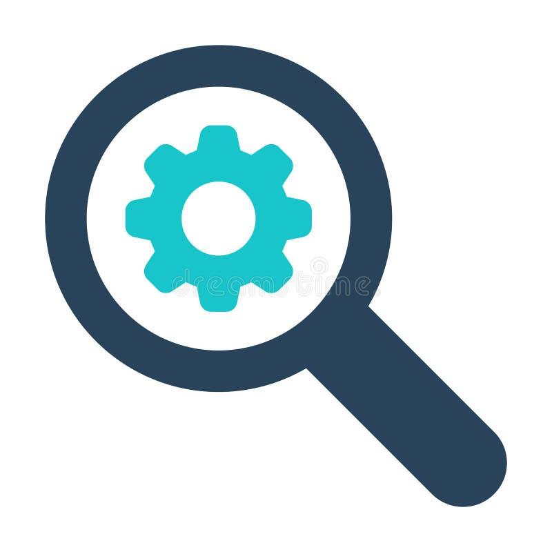 Ενίσχυση - εικονίδιο γυαλιού με το σημάδι τοποθετήσεων Ενισχύοντας - το εικονίδιο γυαλιού και προσαρμόζει, οργάνωση, διαχειρίζετα διανυσματική απεικόνιση
