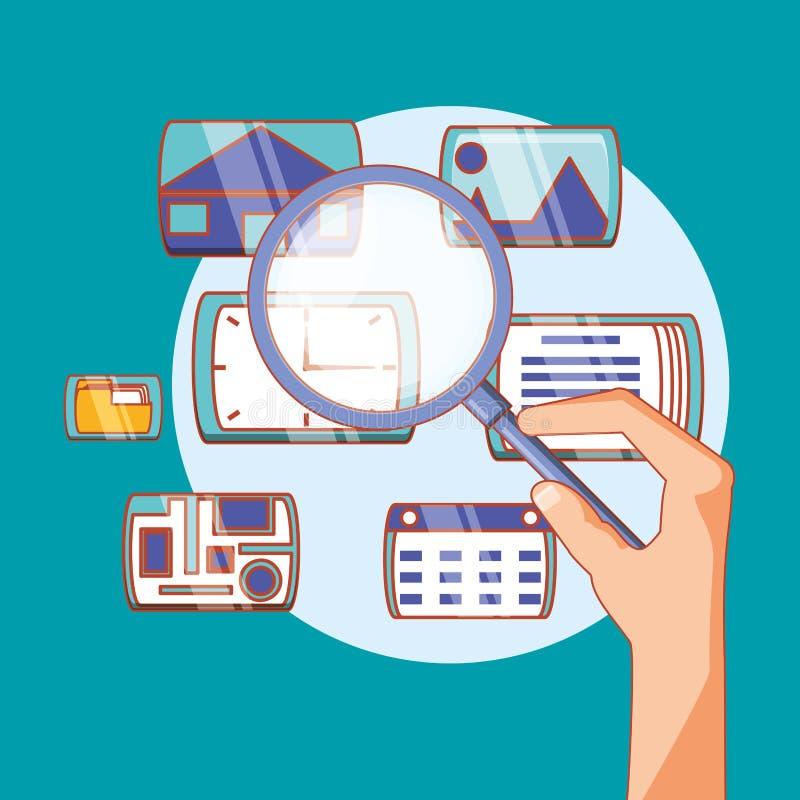 Ενίσχυση εκμετάλλευσης χεριών - κοινωνικές εφαρμογές μέσων γυαλιού απεικόνιση αποθεμάτων