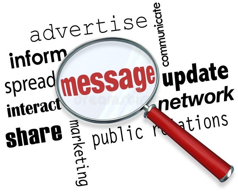 Ενίσχυση μηνυμάτων - λέξεις γυαλιού που διαφημίζουν την αλληλεπίδραση μάρκετινγκ διανυσματική απεικόνιση