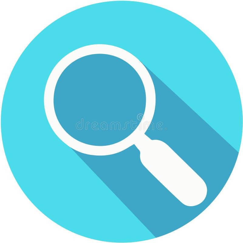 Ενίσχυση - μπλε διανυσματικό εικονίδιο γυαλιού με τη μακριά σκιά Επίπεδο ύφος σχεδίου ελεύθερη απεικόνιση δικαιώματος