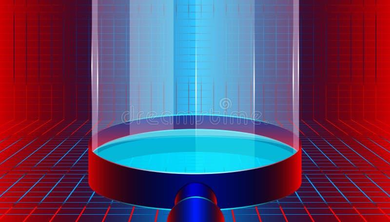 Ενίσχυση - ο φωτισμός γυαλιού για την εύρεση του υποψηφίου παρουσιάζει ή επιδεικνύει το προϊόν και στοιχεία σας σχέδιο με τη βιομ ελεύθερη απεικόνιση δικαιώματος
