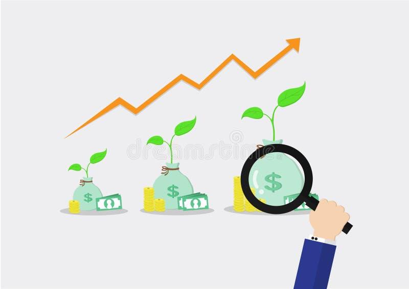 Ενίσχυση - το γυαλί ψάχνει τα χρήματα είναι μεγαλώνει στοκ εικόνες