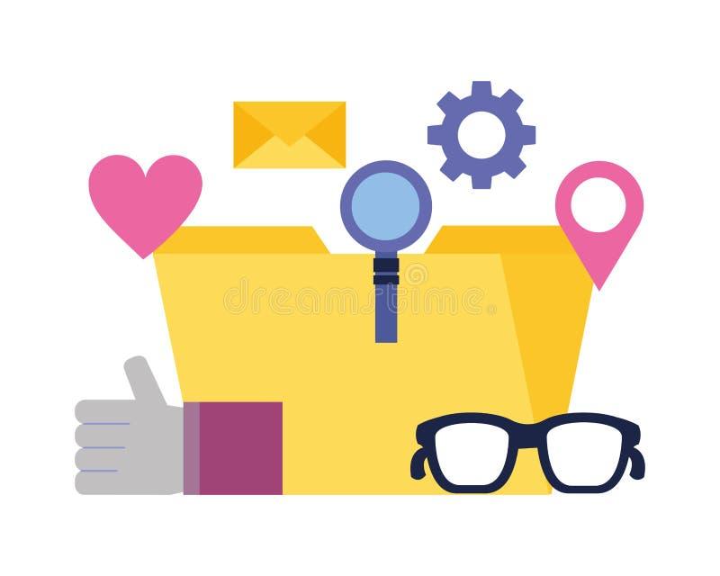 Ενίσχυση φακέλλων - χέρι γυαλιού όπως τα κοινωνικά μέσα ηλεκτρονικού ταχυδρομείου απεικόνιση αποθεμάτων