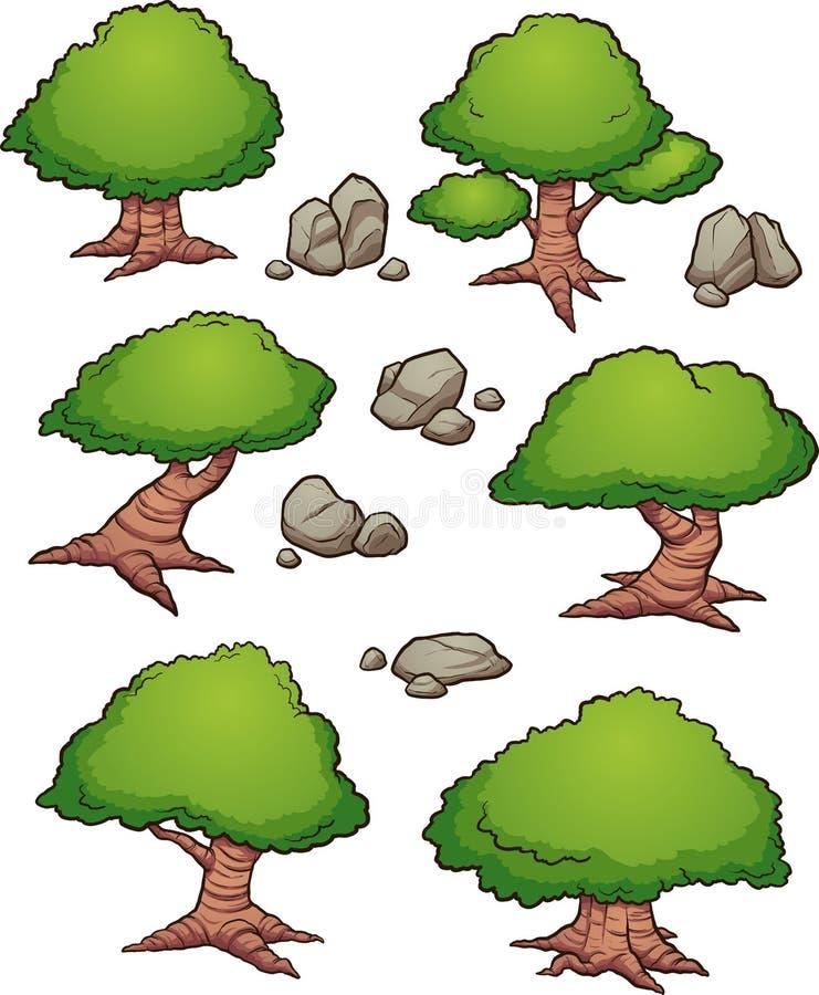 Εναέρια άποψη βράχων και δέντρων κινούμενων σχεδίων διανυσματική απεικόνιση