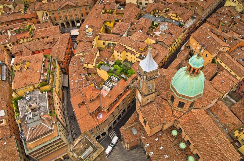 Εναέρια άποψη εικονικής παράστασης πόλης από δύο πύργους, Μπολόνια, Ιταλία στοκ εικόνες με δικαίωμα ελεύθερης χρήσης