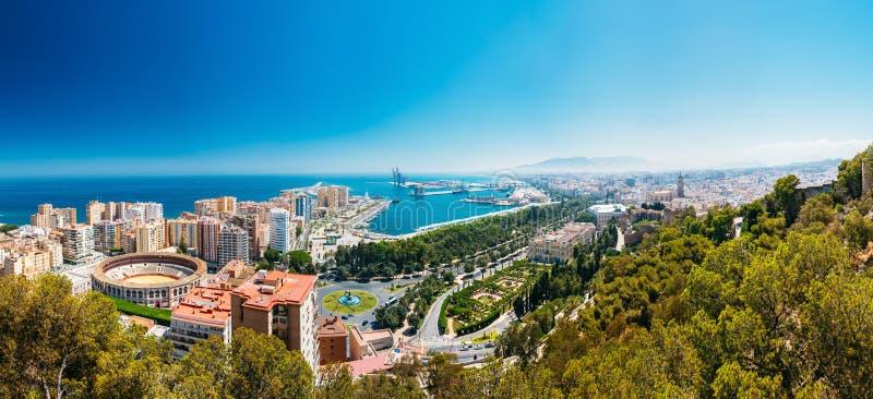 Εναέρια άποψη εικονικής παράστασης πόλης πανοράματος της Μάλαγας, Ισπανία στοκ εικόνα με δικαίωμα ελεύθερης χρήσης
