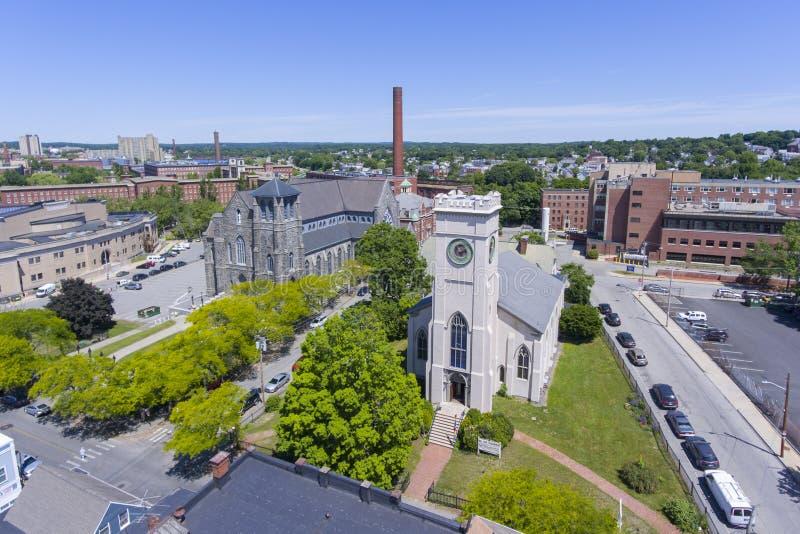 Εναέρια άποψη εκκλησιών του Lowell, Μασαχουσέτη, ΗΠΑ στοκ εικόνες