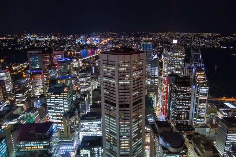 Εναέρια άποψη νύχτας του Σίδνεϊ στοκ φωτογραφία με δικαίωμα ελεύθερης χρήσης