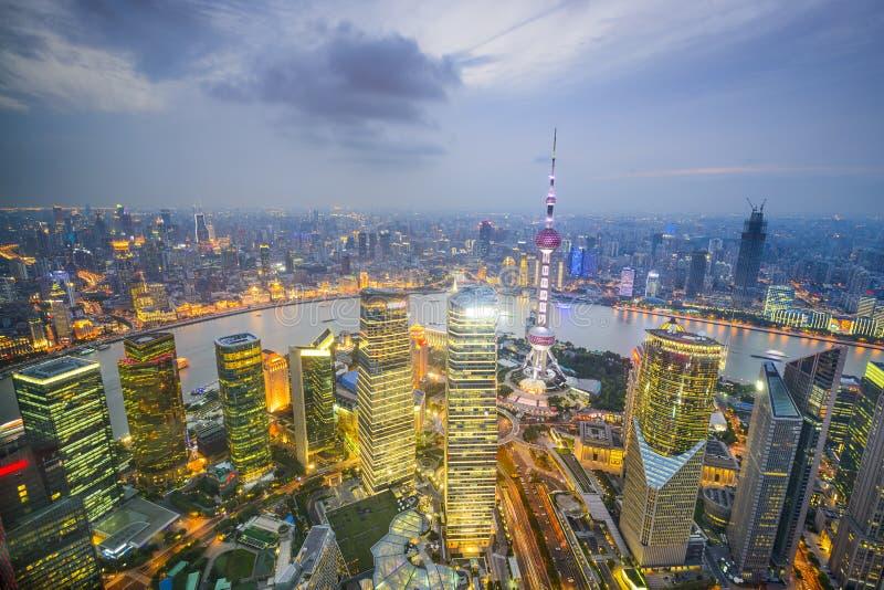 Εναέρια άποψη οριζόντων πόλεων της Σαγκάη, Κίνα στοκ φωτογραφία με δικαίωμα ελεύθερης χρήσης