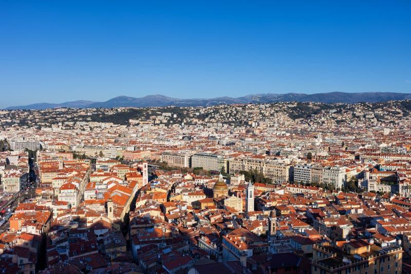 Εναέρια άποψη πέρα από την πόλη της Νίκαιας στη Γαλλία στοκ εικόνες με δικαίωμα ελεύθερης χρήσης