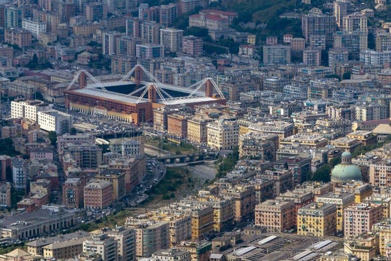 Εναέρια άποψη σταδίων ποδοσφαίρου πόλης Marassi της Γένοβας στοκ φωτογραφία με δικαίωμα ελεύθερης χρήσης