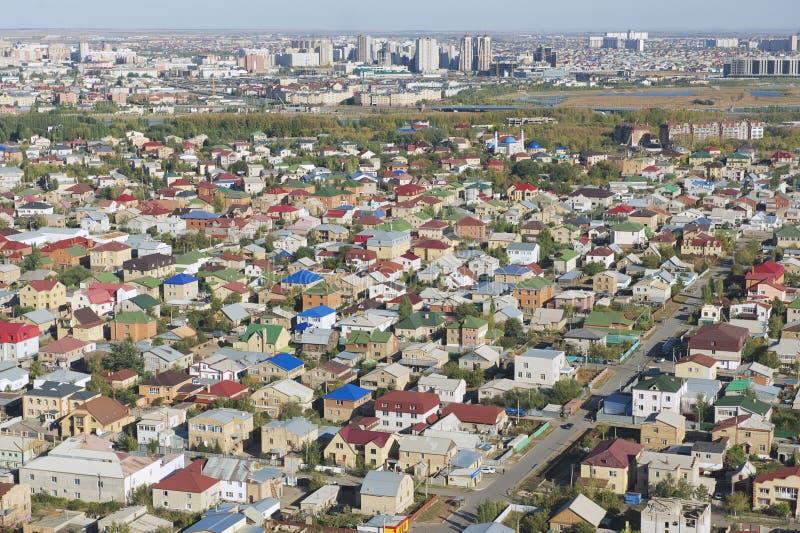 Εναέρια άποψη στη κατοικήσιμη περιοχή της πόλης Astana, Καζακστάν στοκ φωτογραφίες με δικαίωμα ελεύθερης χρήσης