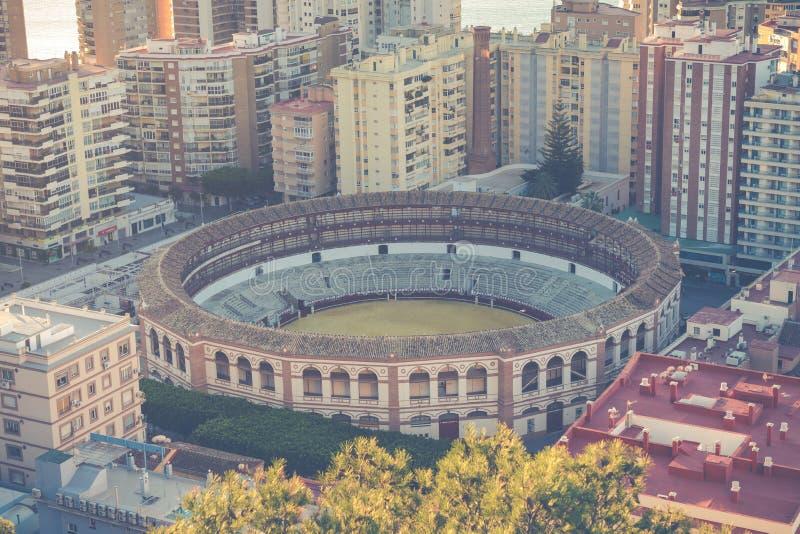 Εναέρια άποψη στη Μάλαγα με την αρένα ταυρομαχίας του Λα Malagueta Εικονική παράσταση πόλης ο στοκ εικόνες με δικαίωμα ελεύθερης χρήσης