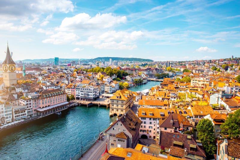 Εναέρια άποψη σχετικά με την πόλη της Ζυρίχης στην Ελβετία στοκ εικόνες με δικαίωμα ελεύθερης χρήσης