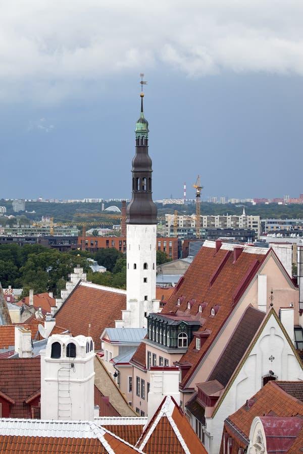 Εναέρια άποψη σχετικά με τη γέφυρα παρατήρησης των παλαιών στεγών πόλεων και την εκκλησία Niguliste του Άγιου Βασίλη Ταλίν Εσθονί στοκ φωτογραφία με δικαίωμα ελεύθερης χρήσης
