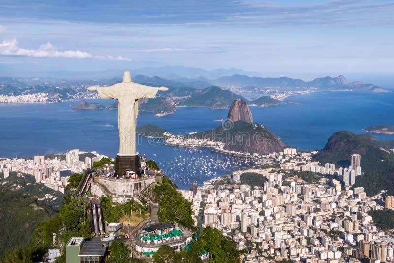 Εναέρια άποψη της εικονικής παράστασης πόλης Ρίο ντε Τζανέιρο, Βραζιλία στοκ εικόνα με δικαίωμα ελεύθερης χρήσης