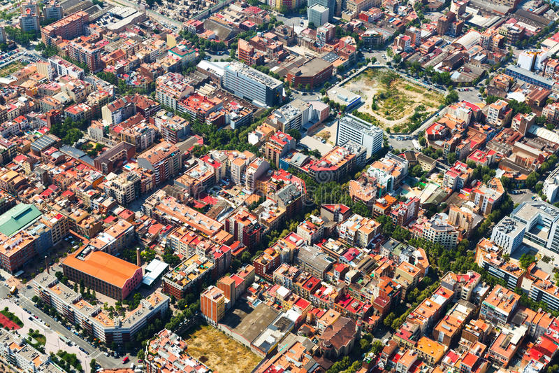 Εναέρια άποψη της εικονικής παράστασης πόλης της Βαρκελώνης Καταλωνία στοκ εικόνα με δικαίωμα ελεύθερης χρήσης